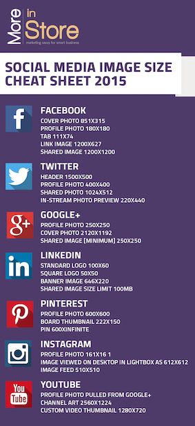2015 Social Media Cheat Sheet | More In Store Marketing